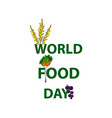 world food day signature fruits vegetables vector image