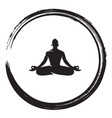 zen meditation circle black enso ink brush vector image
