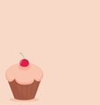 Cherry cupcake on pink background vector image