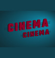 3d cinema sign vector image vector image