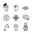 artificial intelligence icons vector image vector image