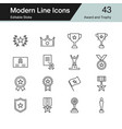 award and trophy icons modern line design set 43 vector image