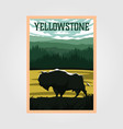 bison on yellowstone national park vintage poster vector image vector image