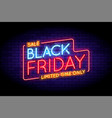 black friday sale in neon style vector image vector image