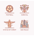 Brazilian culture linear icons set vector image