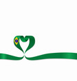 brazilian flag heart-shaped ribbon vector image