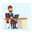 businessman working at office table flat cartoon vector image vector image