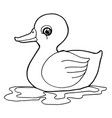 cartoon cute duck coloring page vector image vector image
