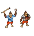 Cartoon gorilla playing baseball and rugby vector image vector image