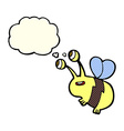 cartoon happy bee with thought bubble vector image vector image