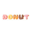 cartoon with word donut hand vector image vector image