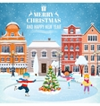Christmas postcard with vintage street vector image vector image