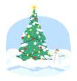 christmas tree flat xmas fir tree with snowman vector image