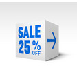 cube banner template twenty-five percent off vector image vector image