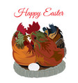 cute chicken family in the nest flat vector image