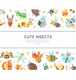 cute insects banner template cover poster vector image vector image