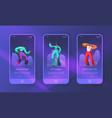 dancing disco characters landing page set vector image