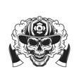 firefighter skull and crossed axes vector image vector image
