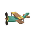 flat icon of green biplane aircraft with vector image vector image