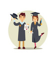 girl and boy graduates cartoon character vector image