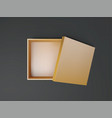 gold open empty squares cardboard box top view vector image vector image
