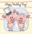 greeting card piggy bride and piggy groom vector image