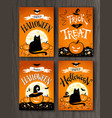 halloween and trick or treat postcards vector image vector image