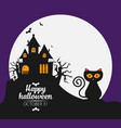 halloween background with witch house flat design vector image