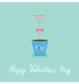 Happy Valentines Day Love Flat design Blue vector image