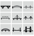 isolated bridges big icons set vector image