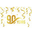 isolated golden color number 90 with word years vector image vector image