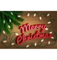 Merry Christmas Fir-tree branch with a bright vector image vector image
