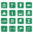museum icons set grunge vector image vector image