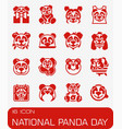 national panda day icon set vector image