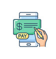 pay in cheques rgb color icon