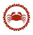 red stamp border with silhouette crayfish vector image