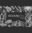 seafood design template hand drawn seafood on vector image vector image