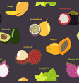 seamless pattern of exotic tropical fruits on a vector image