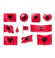 set albania flags banners banners symbols flat vector image vector image