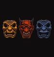 set japanese masks samurais vector image vector image