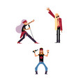 set of characters of people who singing and vector image vector image