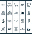 shipping icons set with ship hook helicopter vector image vector image