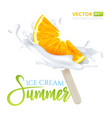 slice of orange fruit ice cream on a stick with vector image