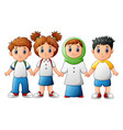 smiling children holding hands together vector image