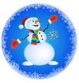 snowman in red mittens and striped scarf vector image vector image