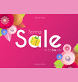 spring sale colorful banner with cute flowers vector image vector image