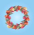 spring wreath of tulips on a blue background vector image vector image