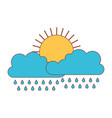 sun and cloud with rain in colorful silhouette vector image vector image