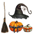 watercolor hand drawn halloween witch themed icons vector image vector image