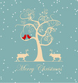 winter tree with birds vector image vector image